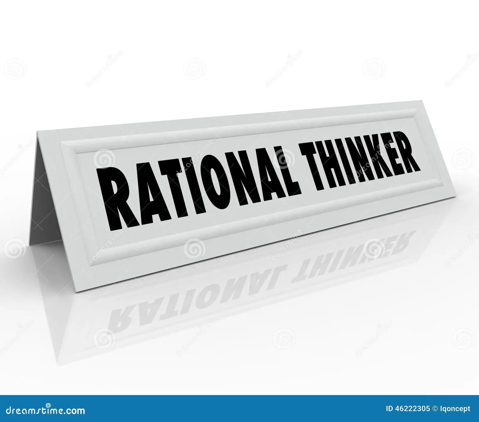 Rational Thinker Name Tent Card Reason Sensible Thought Speaker Stock Illustration