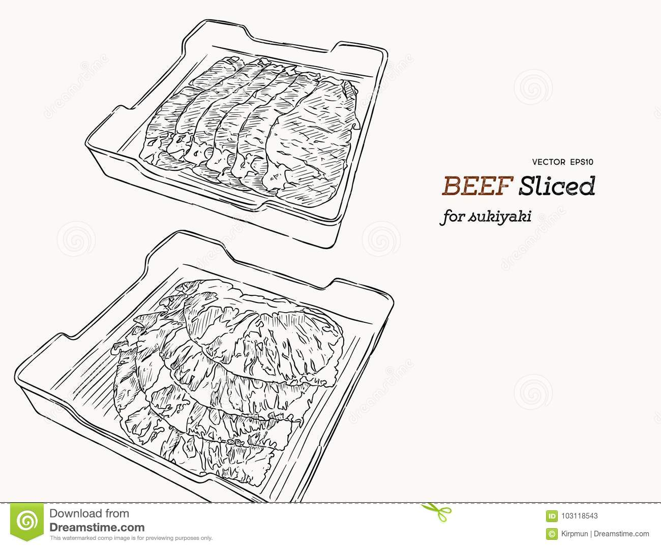 Raw Beef Meat Sliced In Tray Vector Illustration Stock