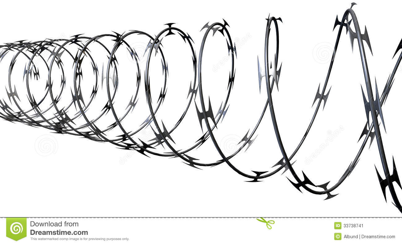 Razor Wire Perspective Stock Image