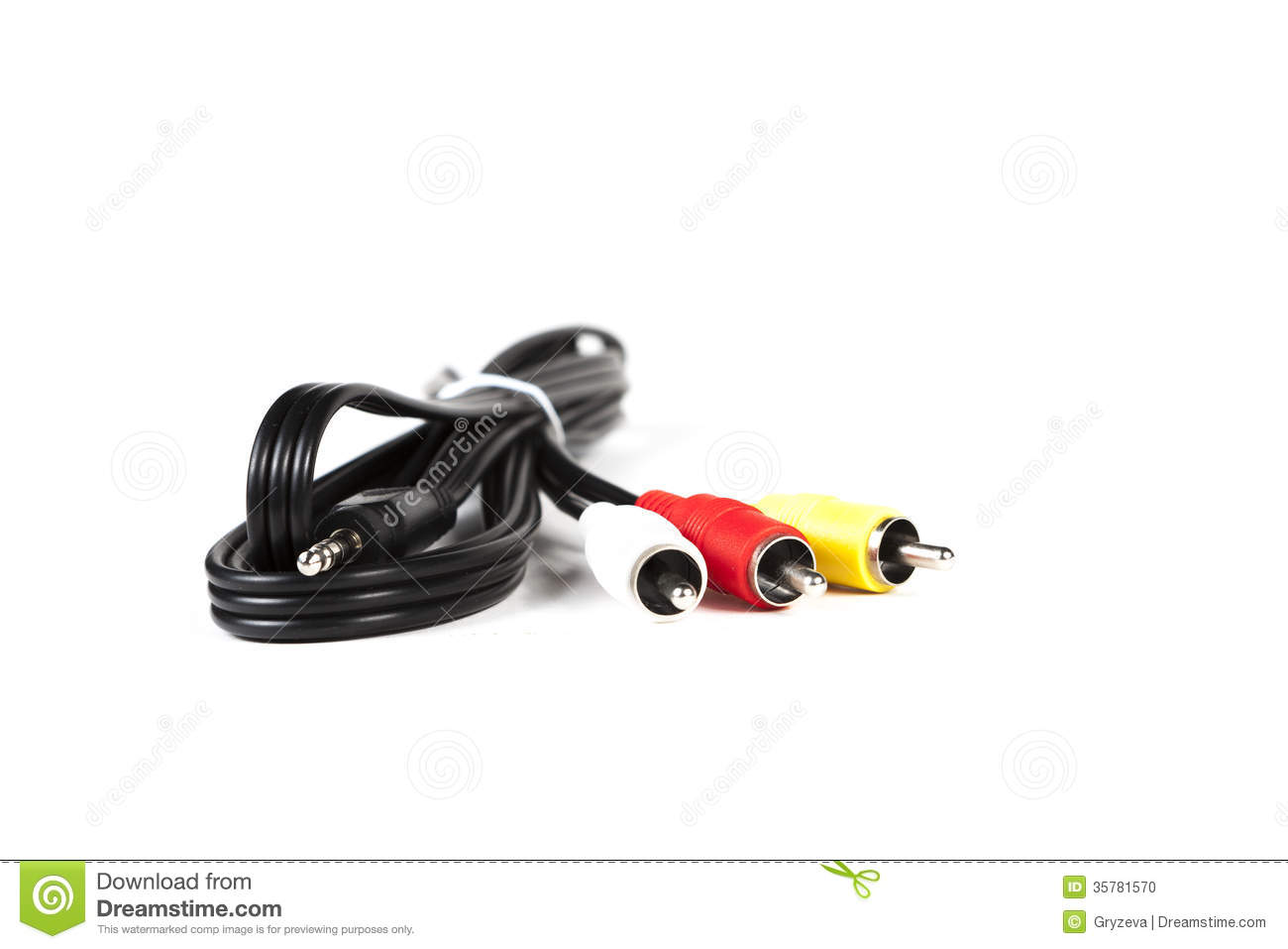 Rca Cable Connectors Isolated On A White Background Stock