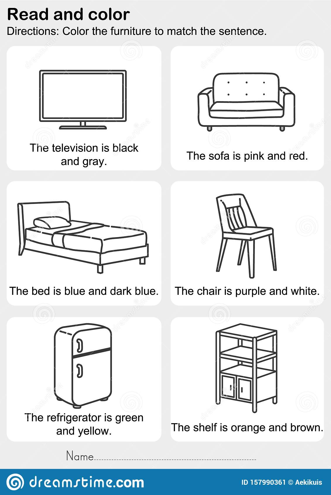 Read And Color Color The Furniture To Match The Sentence