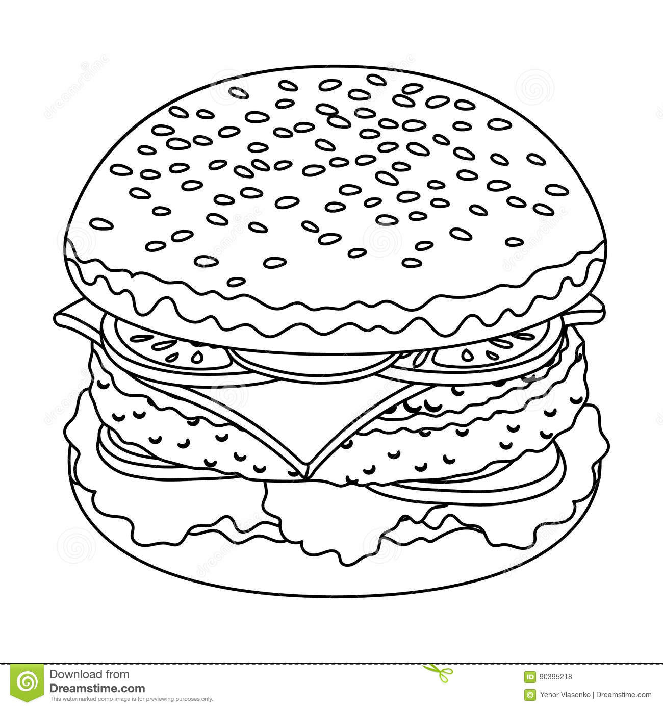 Burger Icon Outline Vector Illustration