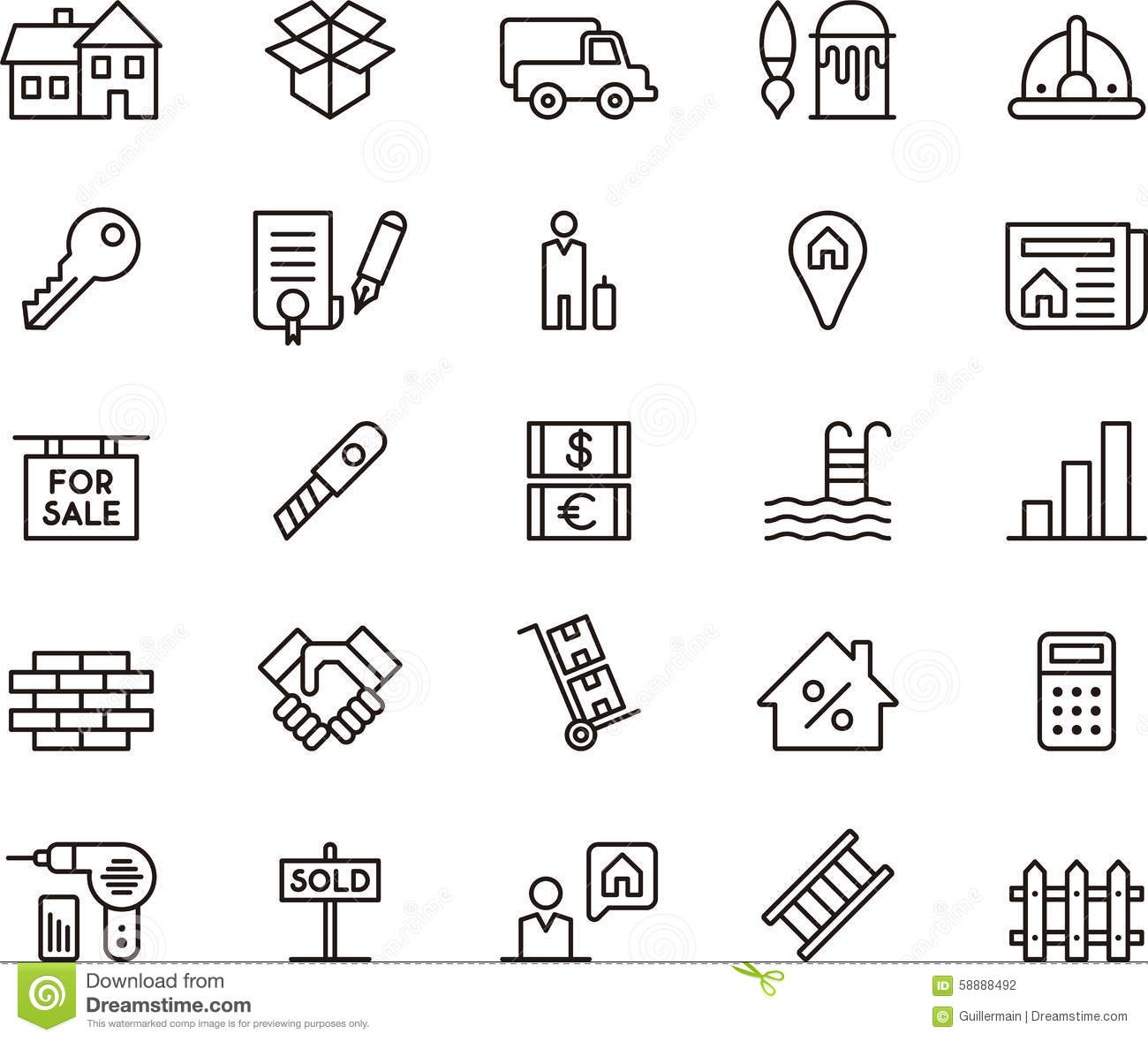Real Estate Icons Clip Art Stock Photo
