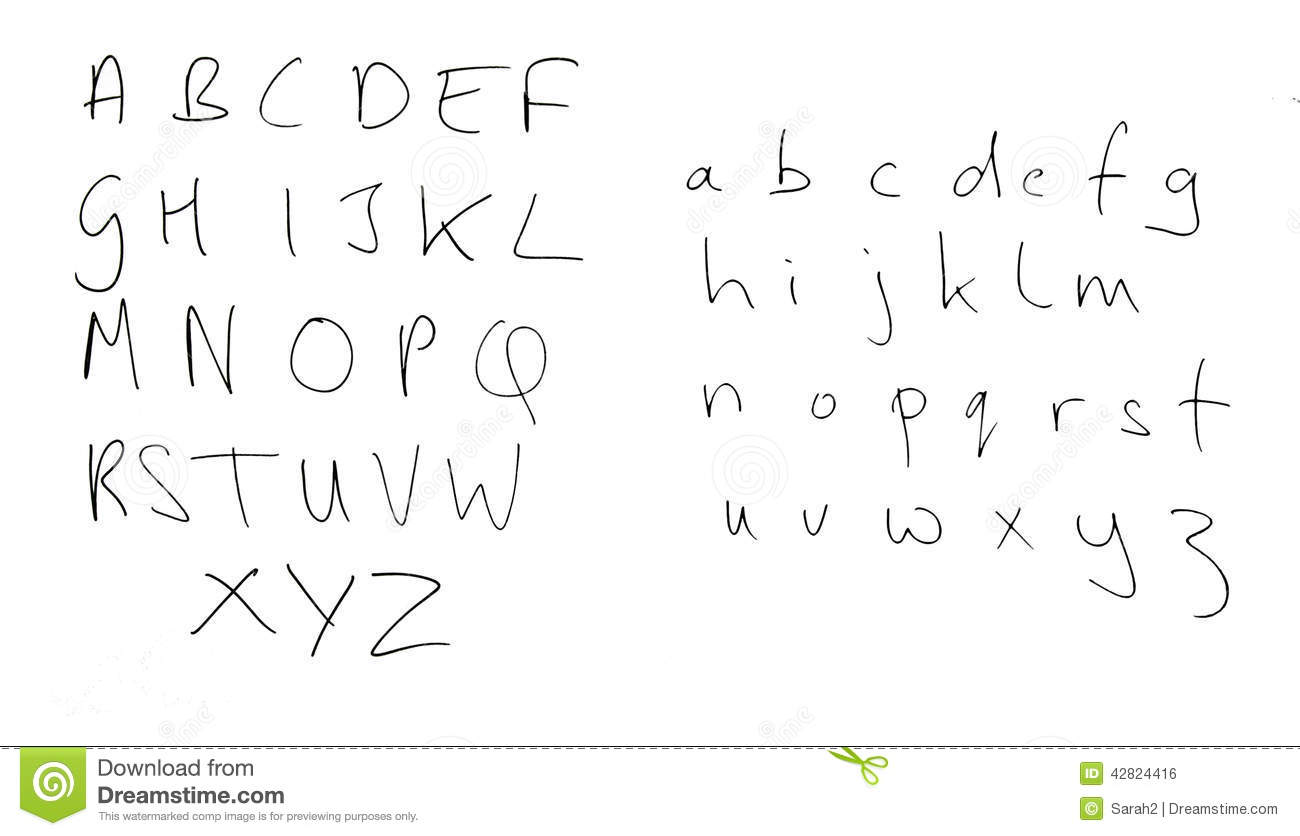 Real Handwriting Rather Untidy Alphabet Letters Isolated