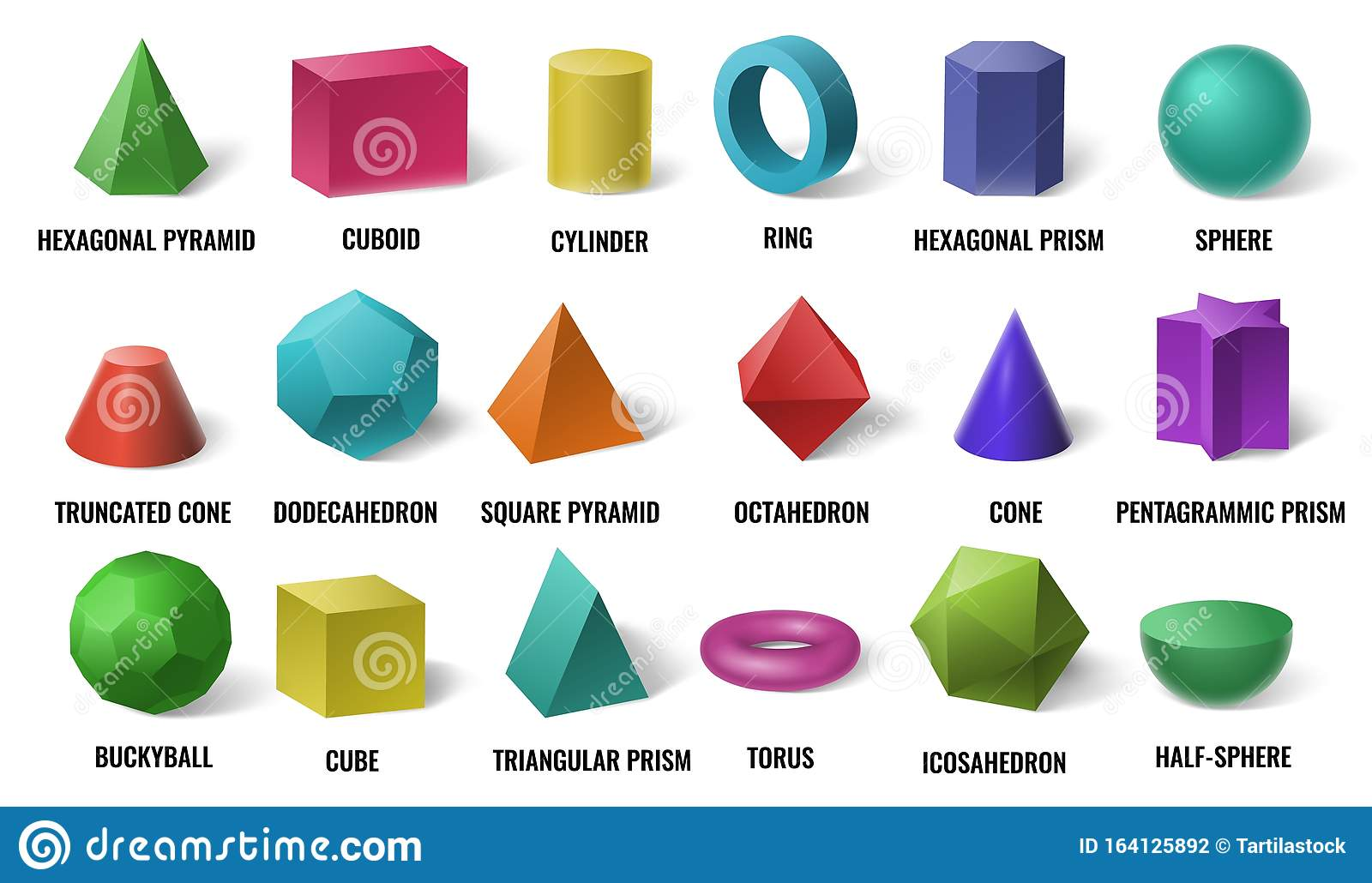 Realistic 3d Color Basic Shapes Solid Colored Geometric