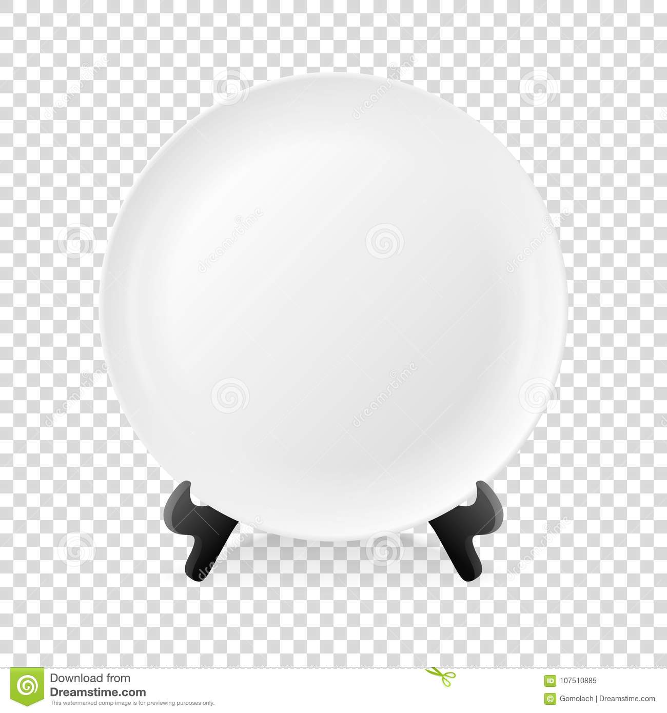 Realistic Vector White Food Empty Plate Icon On A Stand