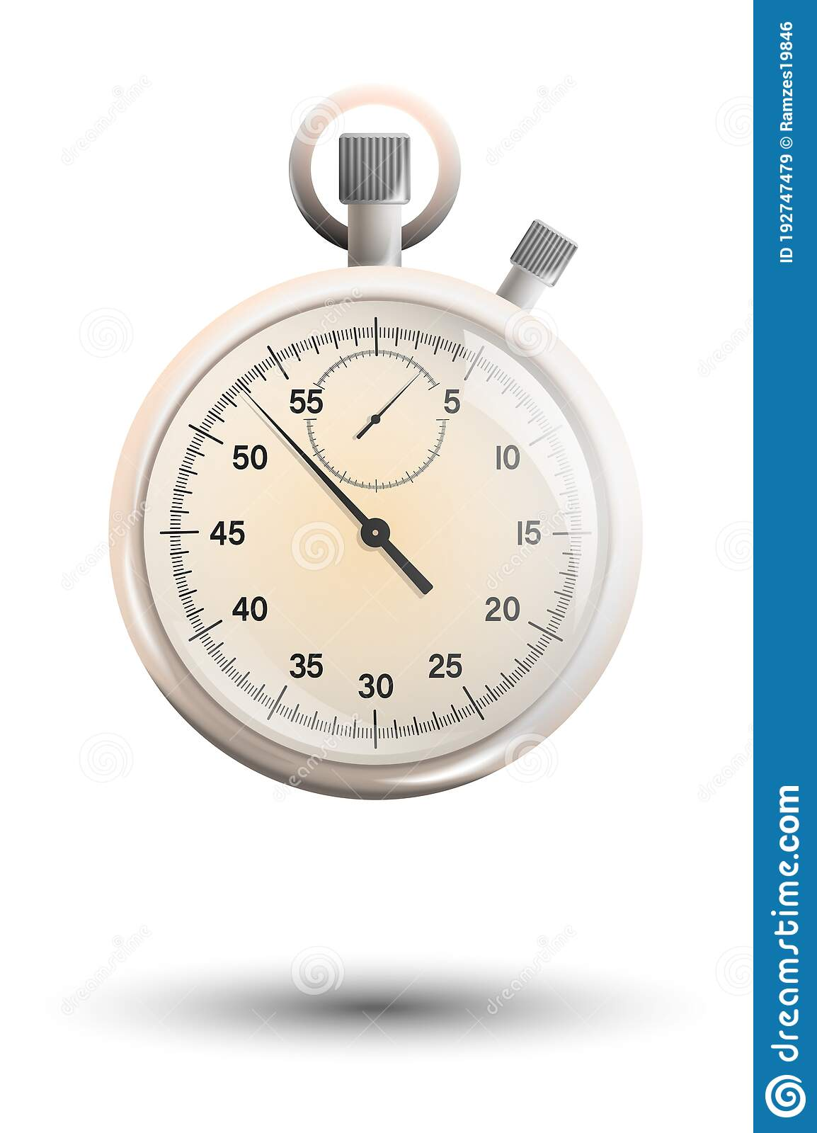 Realistic White Gold Mechanical Stopwatch With Hands And