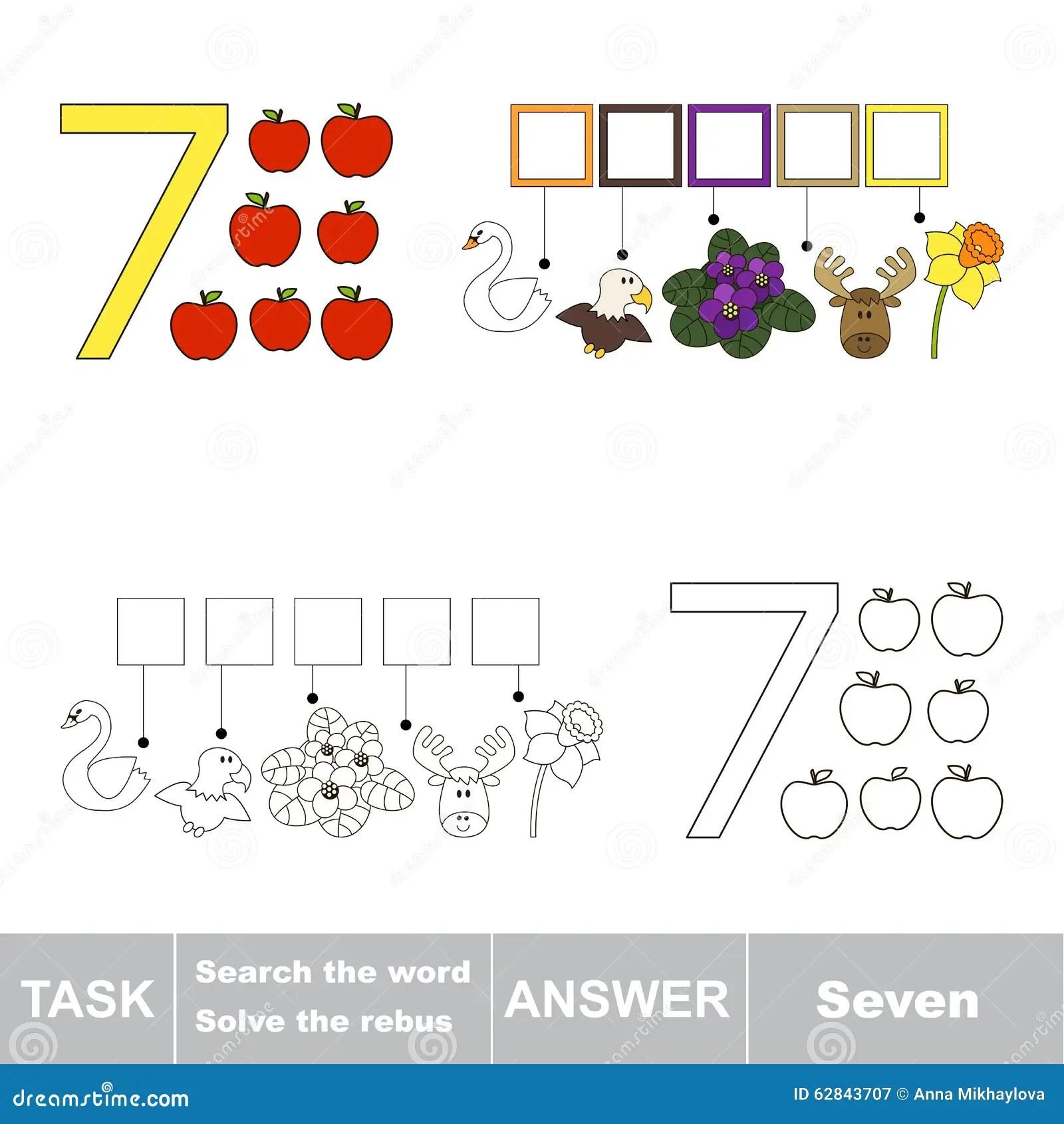 Rebus For Letter 7 Stock Vector Illustration Of Outline