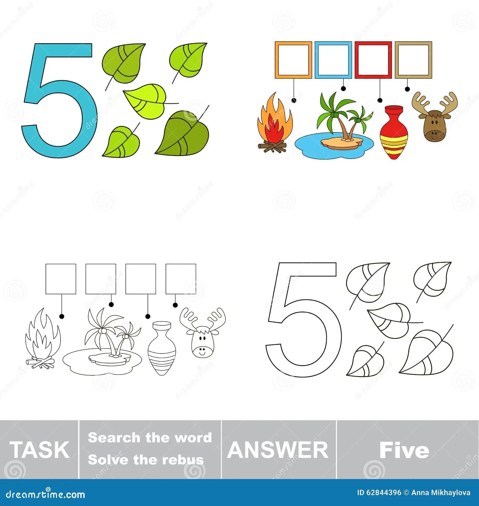 Rebus For Letter 5 Stock Illustration