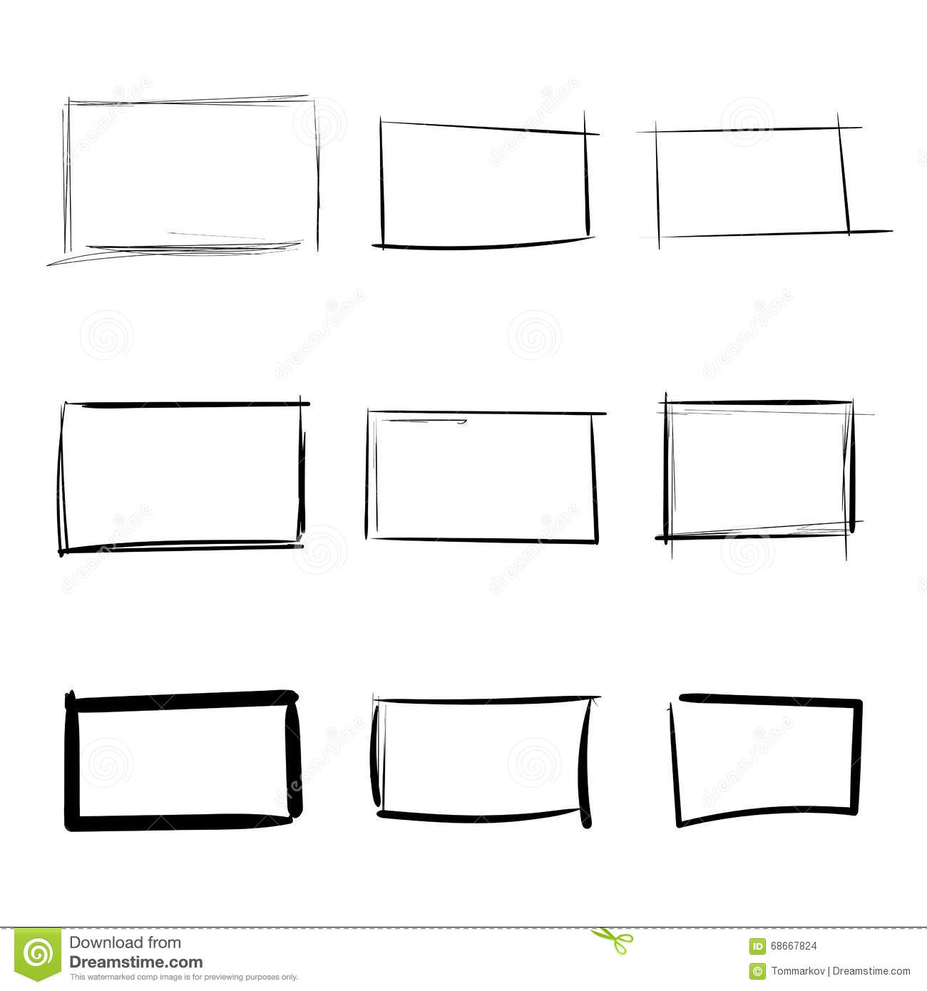 Rectangle Templates Hand Drawn Simple Set Stock Vector