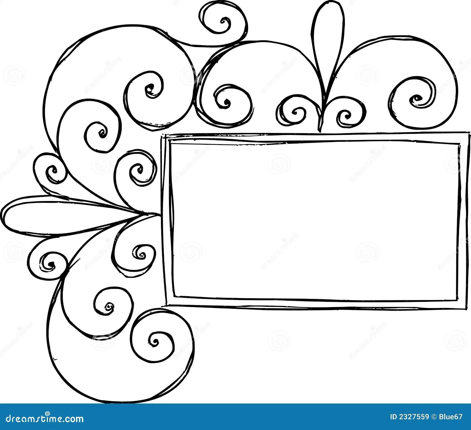 Rectangular Frame With Swirl Stock Vector