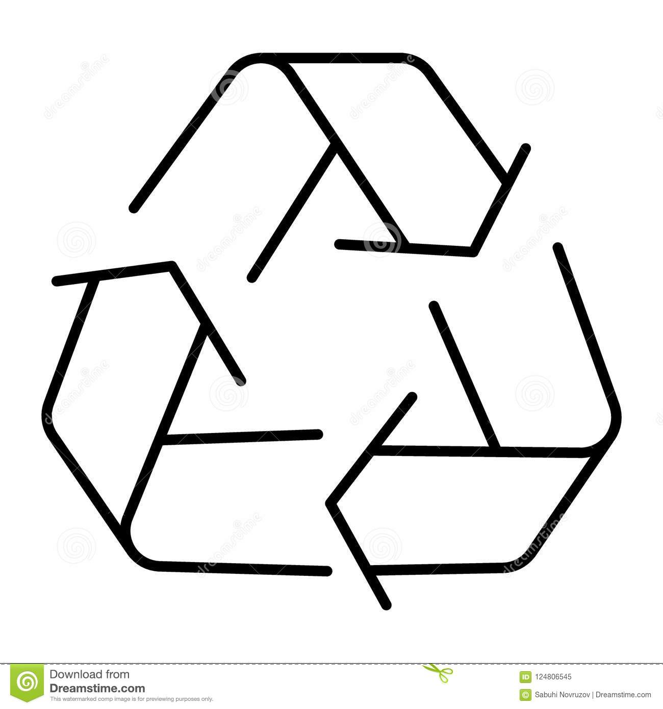 Recycle Sign Thin Line Icon Eco Recycling Sign Vector
