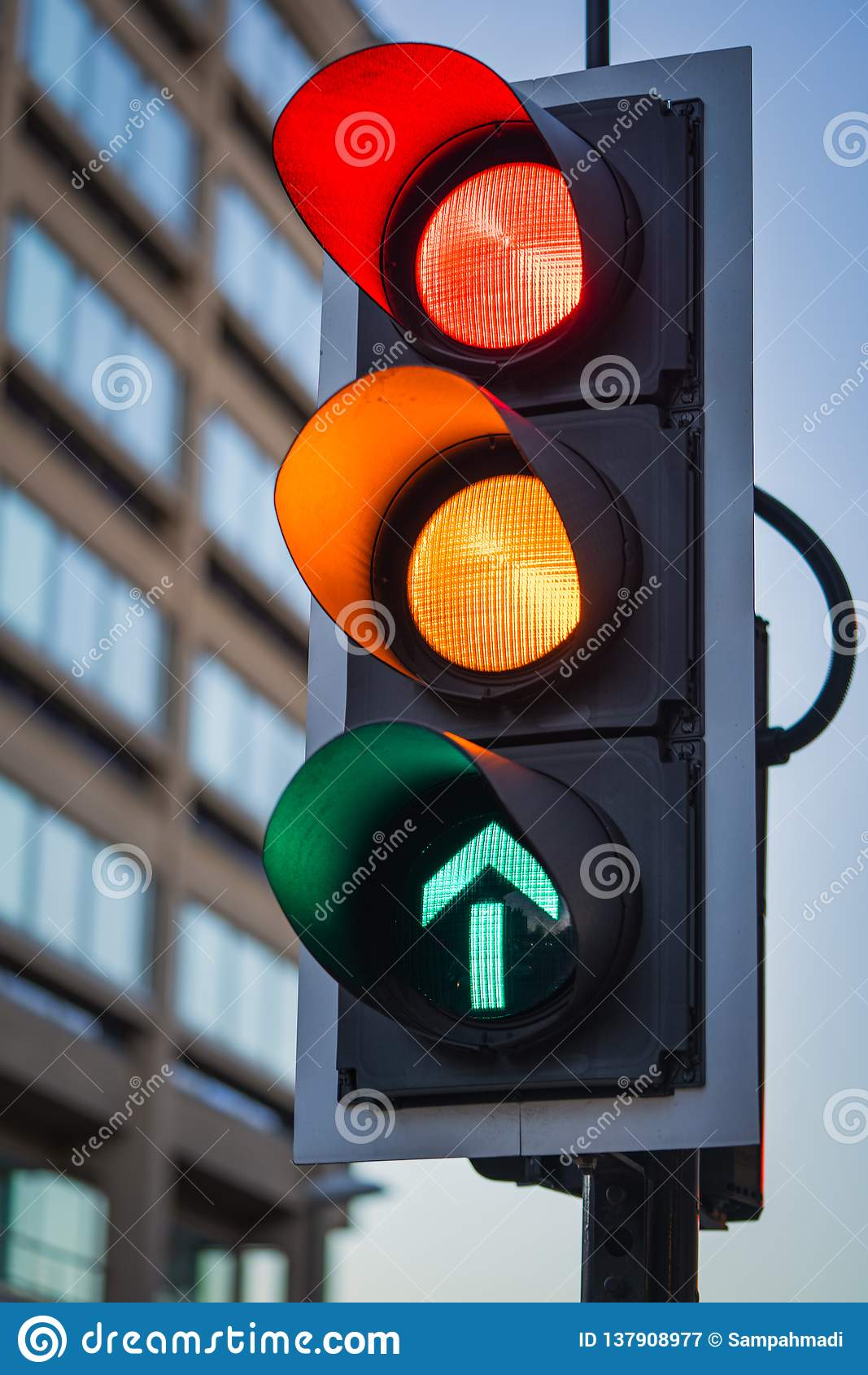 Red Amber Green Traffic Light Illuminated Stock Image