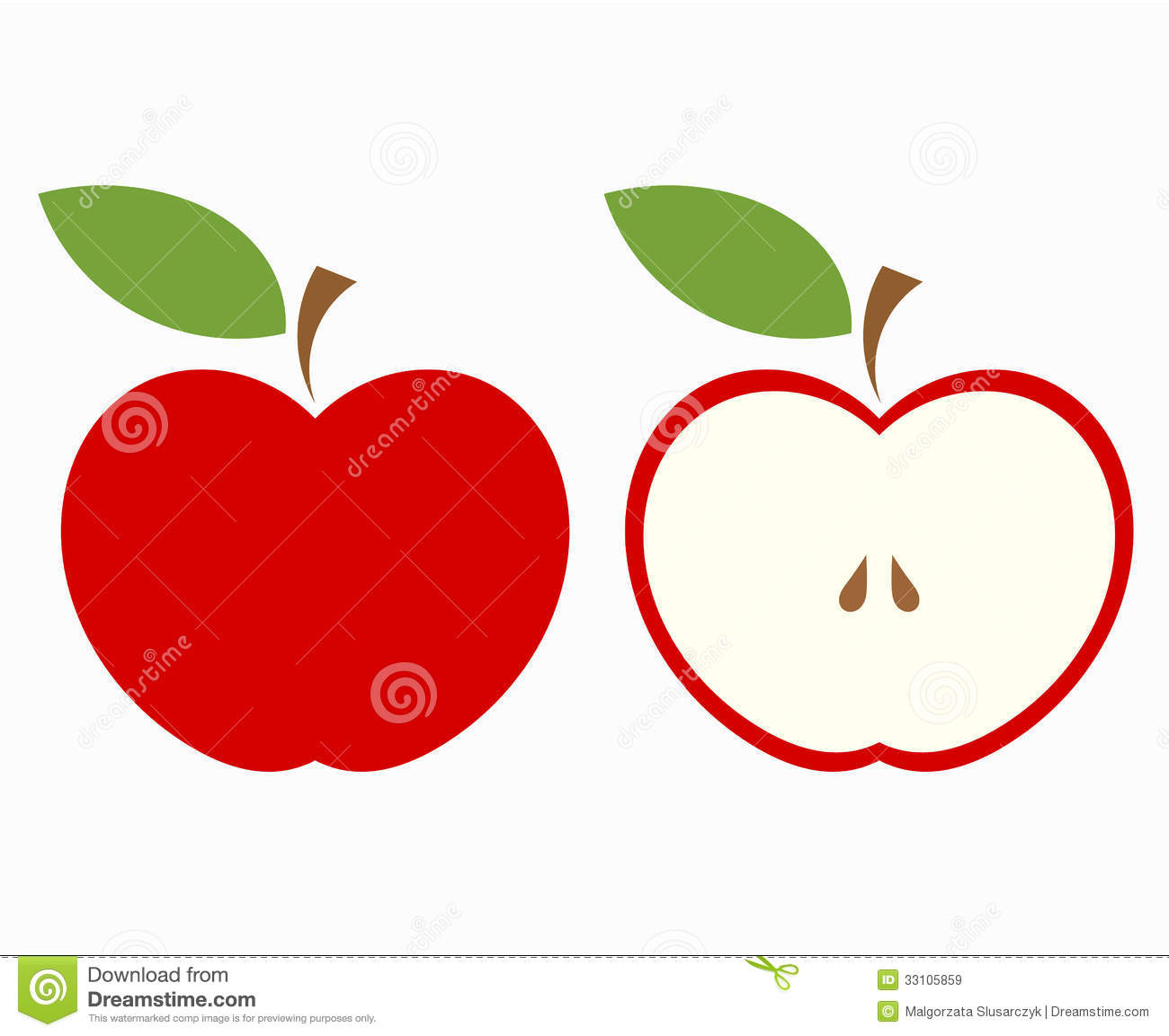 Red Apple Cut Stock Vector Illustration Of Inside Label