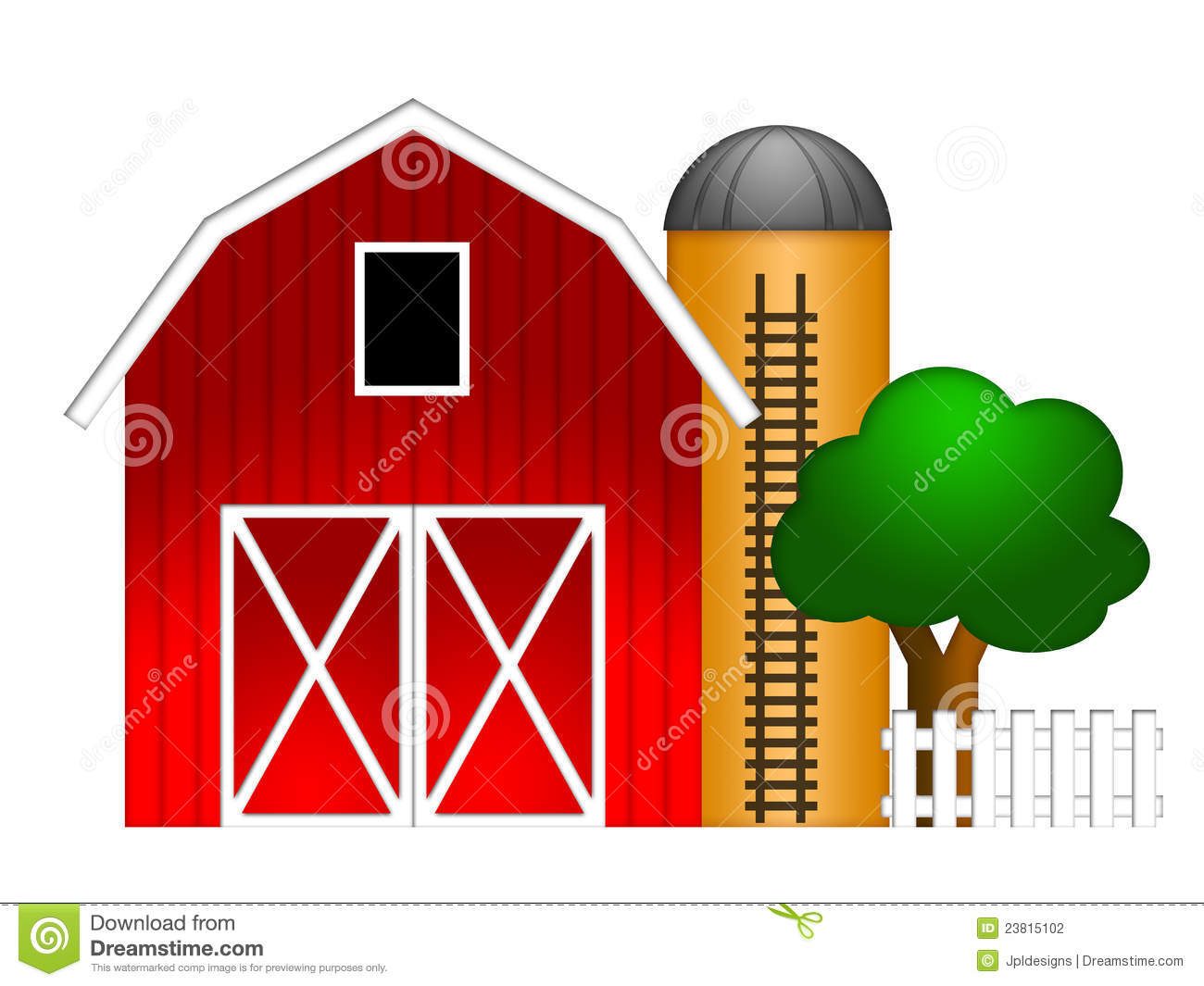 Red Barn With Grain Silo Illustration Stock Photography