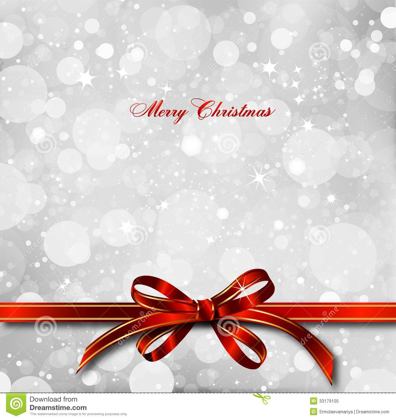 Red Bow On A Magical Christmas Card Vector Royalty Free