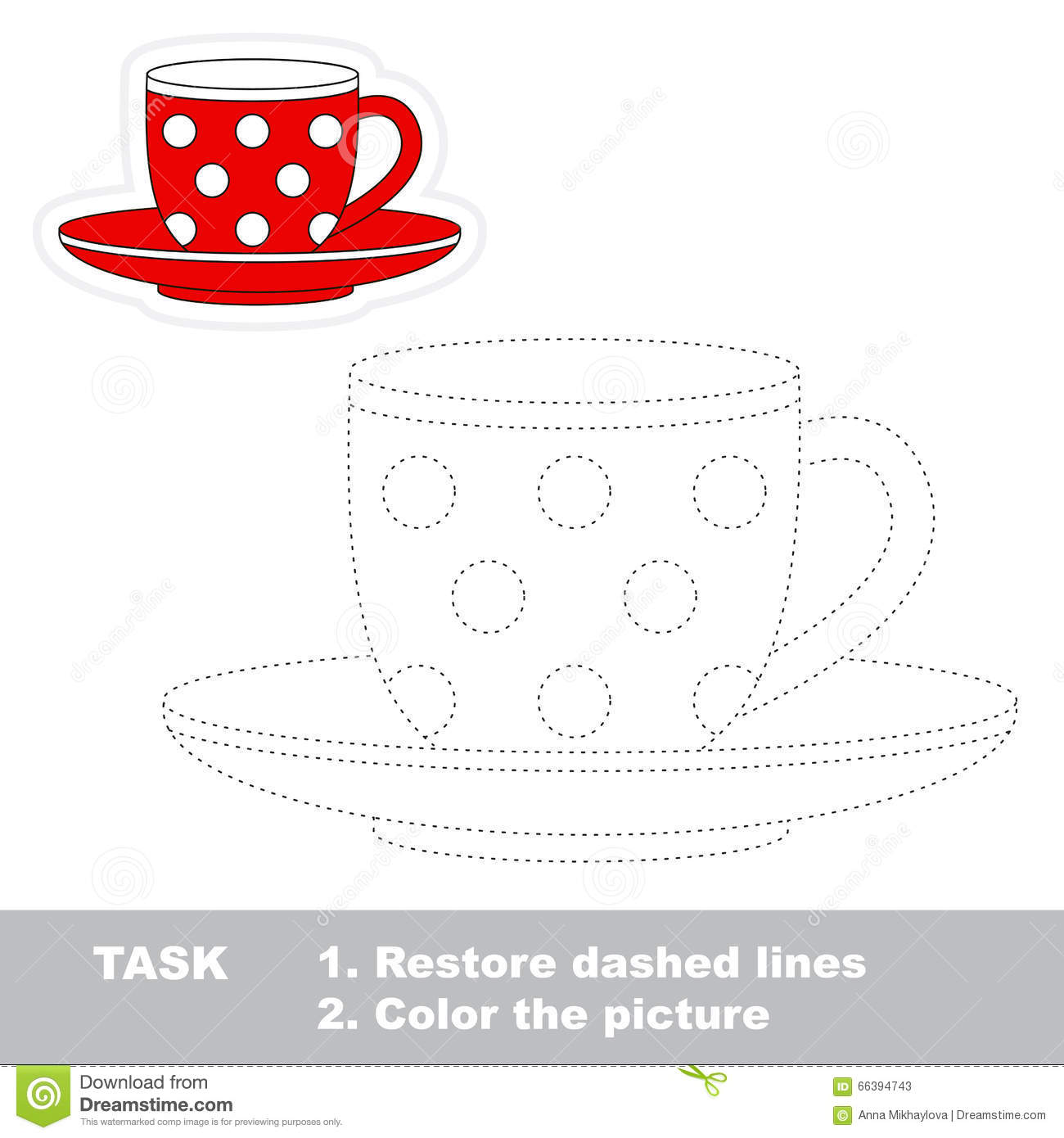 Red Cup To Be Colored Vector Trace Game Stock Vector