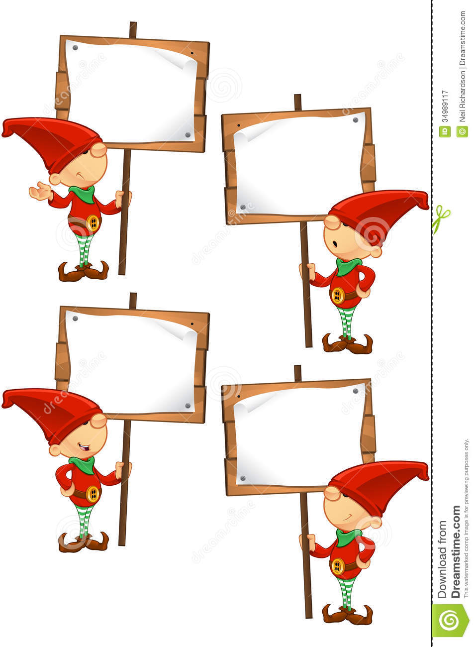 Red Elf Holding Wooden Sign Stock Vector Illustration