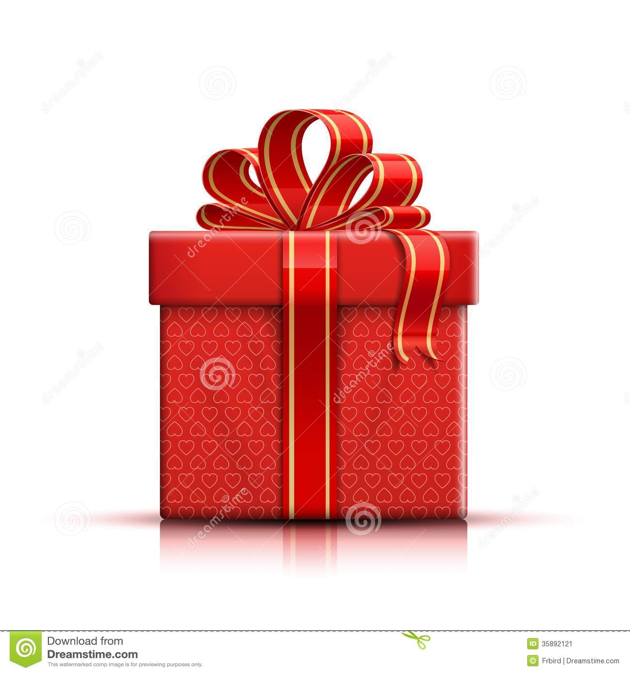 Red Gift Box With Ribbon And Bow Stock Image Image 35892121
