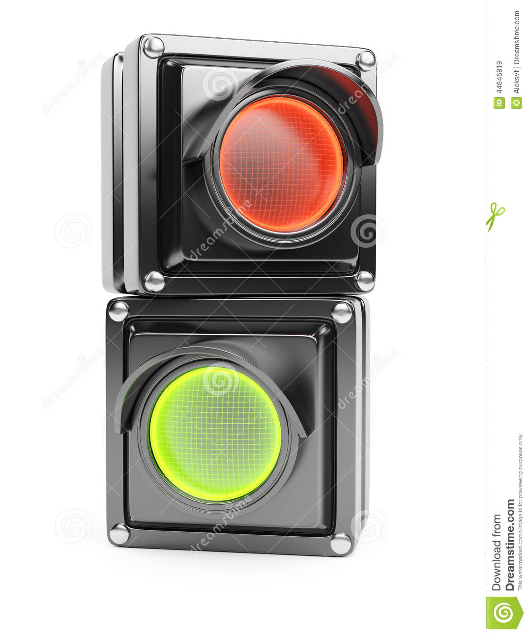 Red And Green Parts Of Traffic Light Stock Illustration