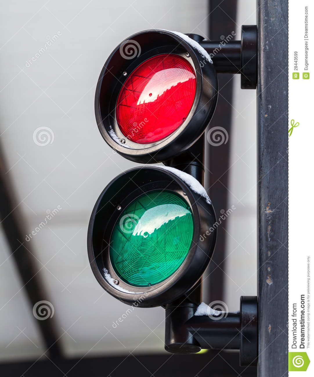 Red And Green Small Traffic Light Stock Image