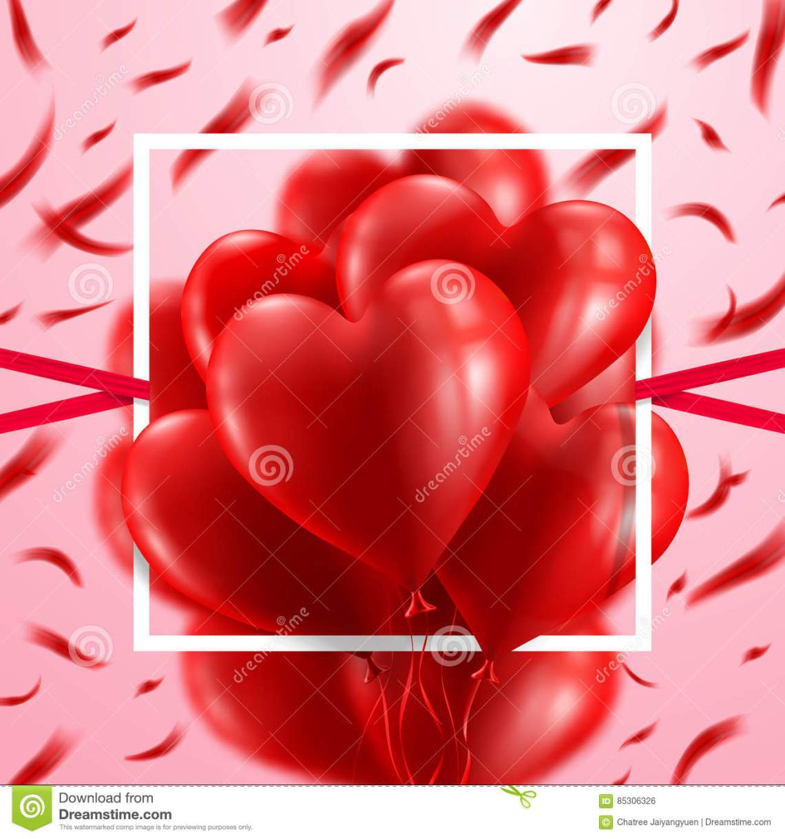 Download Red Heart Balloons Valentine`s Day Card.Love And Valentine ...