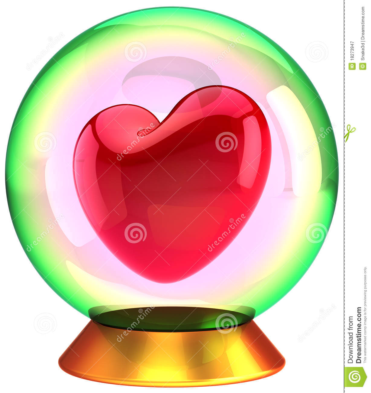 Red Heart Shape Inside Crystal Globe Royalty Free Stock