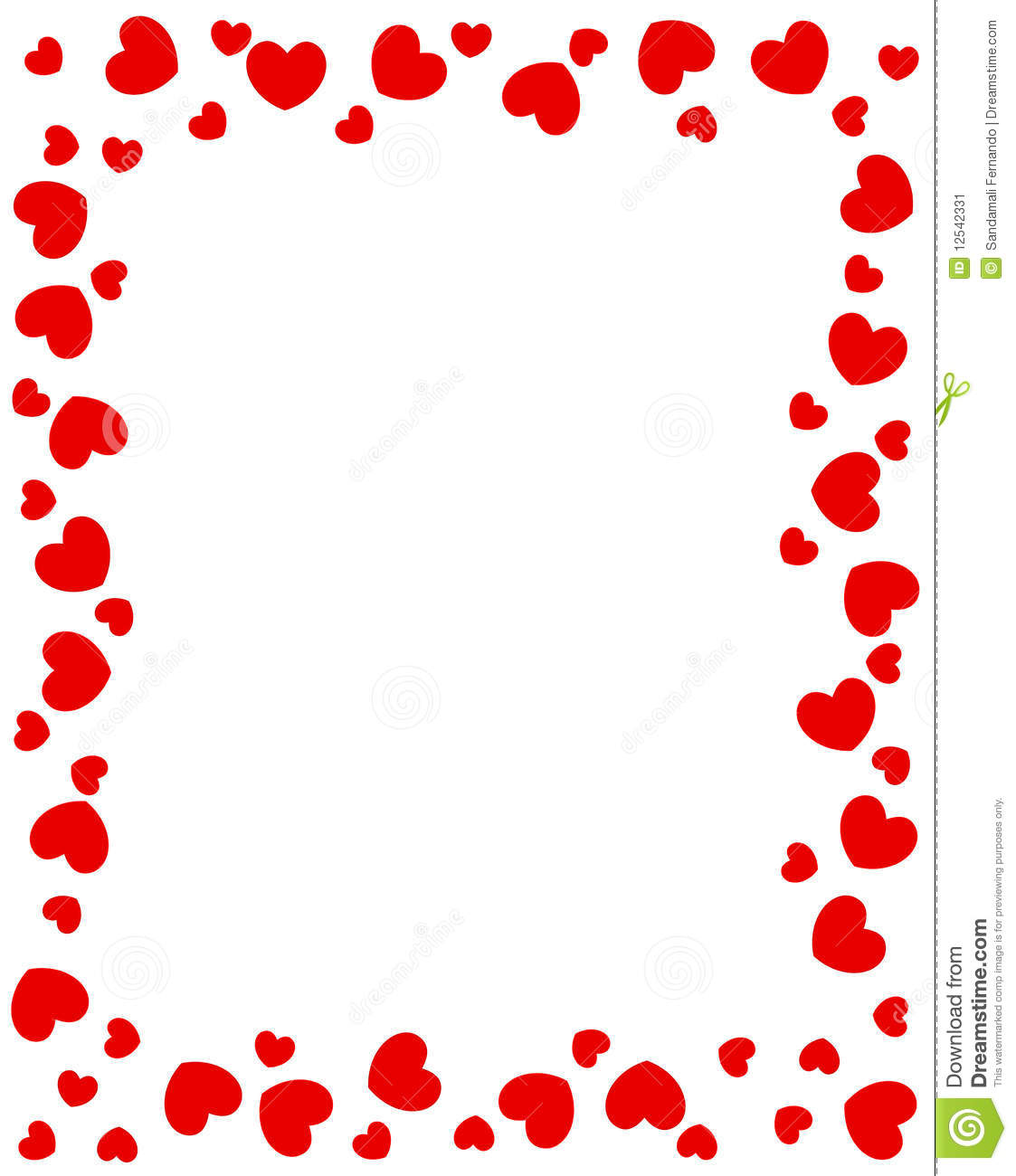 Red Hearts Border Stock Vector Illustration Of Enticing