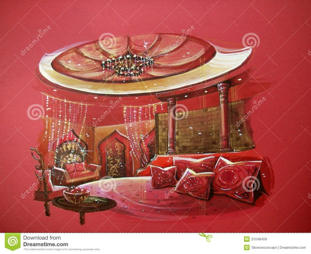 Red Indian Style Bedroom Interior With Round Bed Stock ...