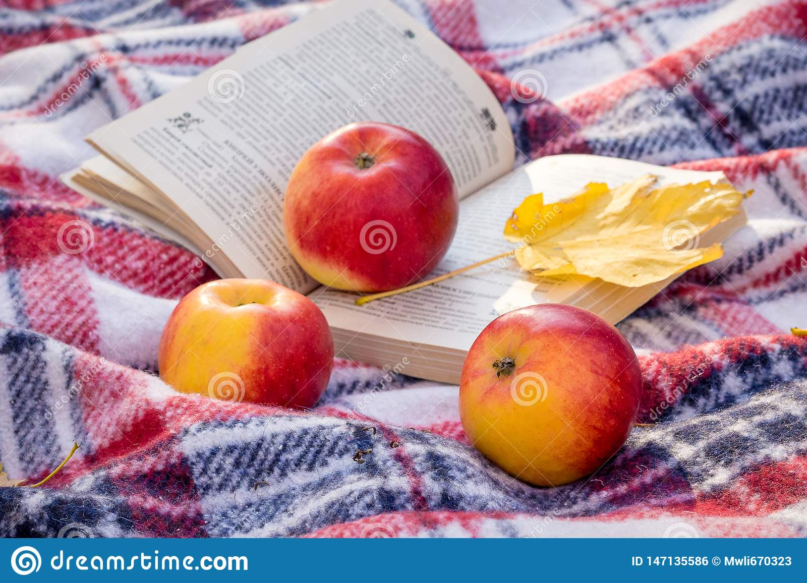 Red Juicy Apples And A Yellow Maple Leaf Near An Open Book