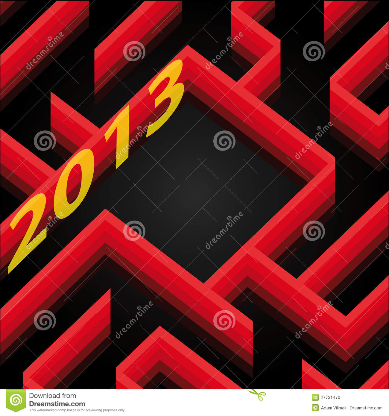 Red Labyrinth Wall New Year Card Wish Stock Vector