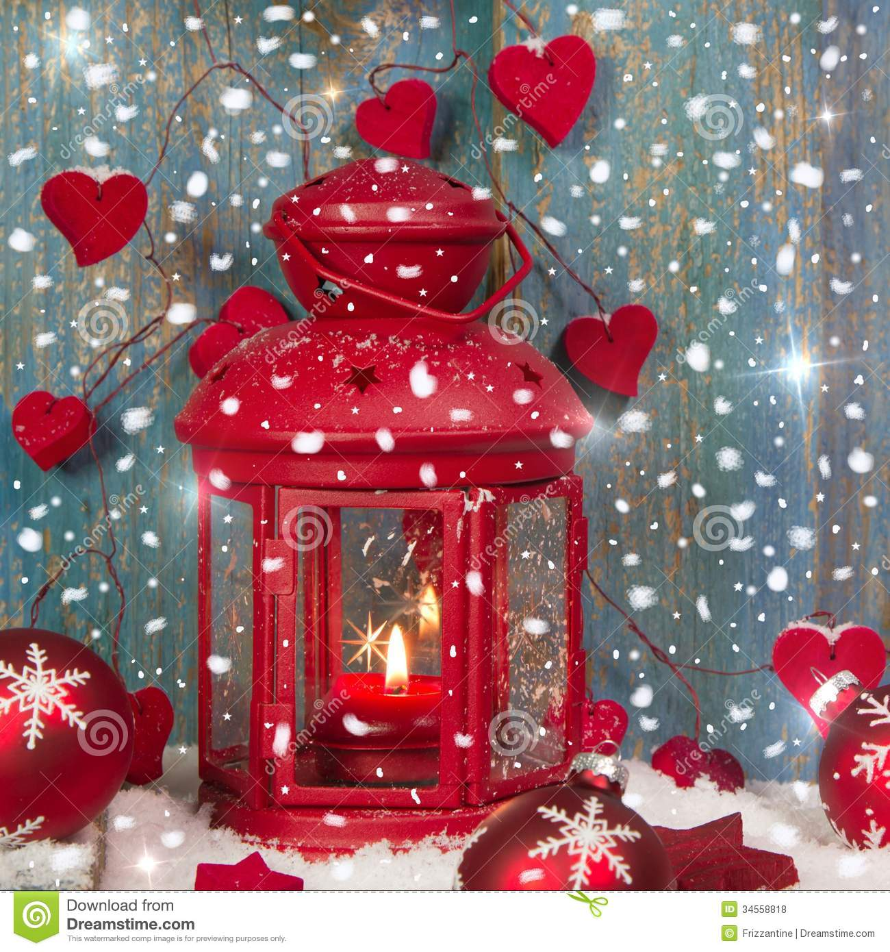 Red Lantern With Candlelights And Shnowflakes Christmas