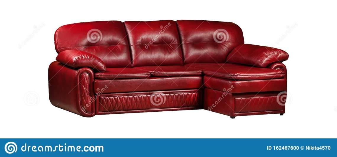 Red Leather Comfortable Sofa Isolated Stock Photo Image Of Architecture Comfortable 162467600