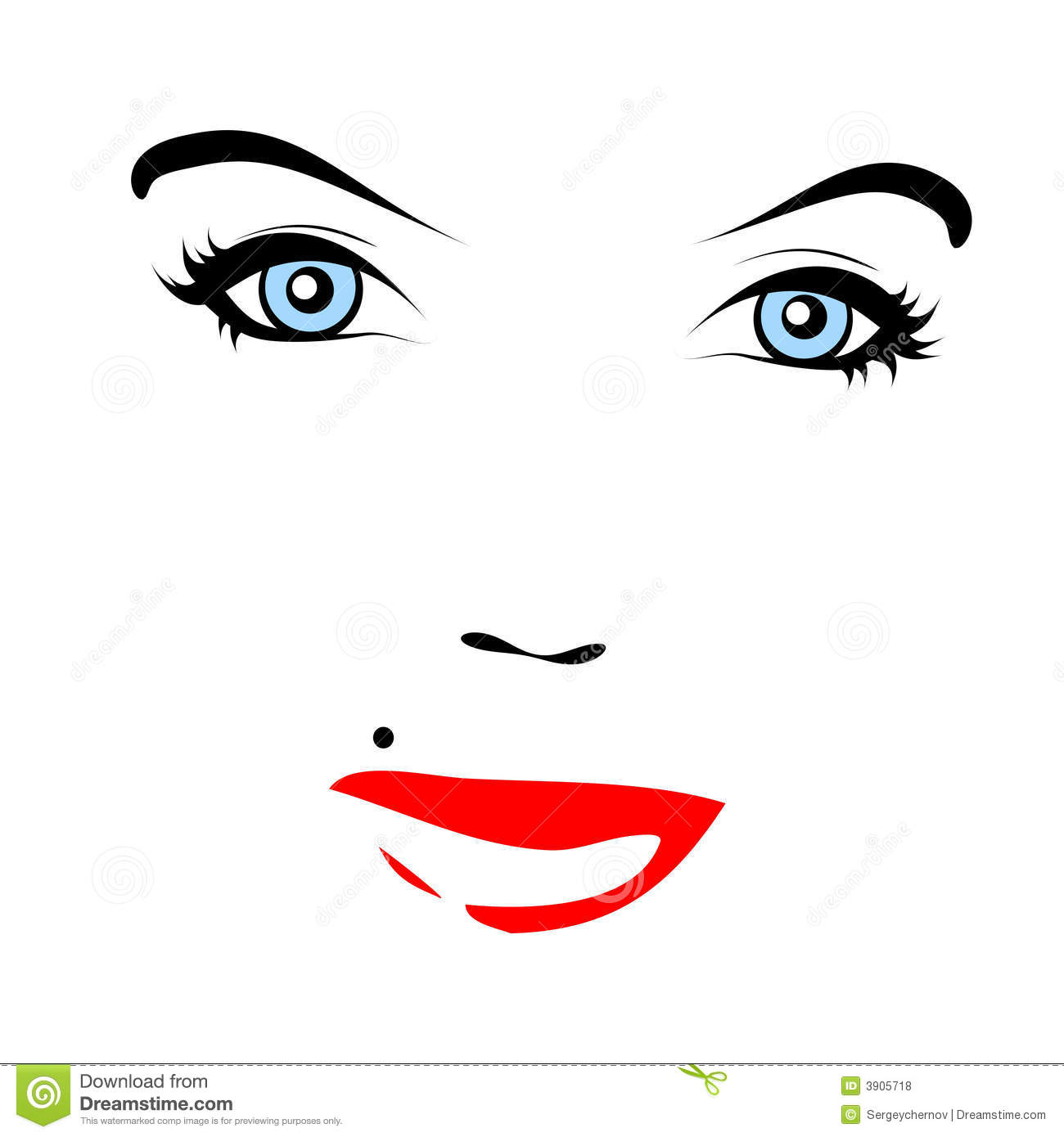Red Lips Vector Face Royalty Free Stock Photos