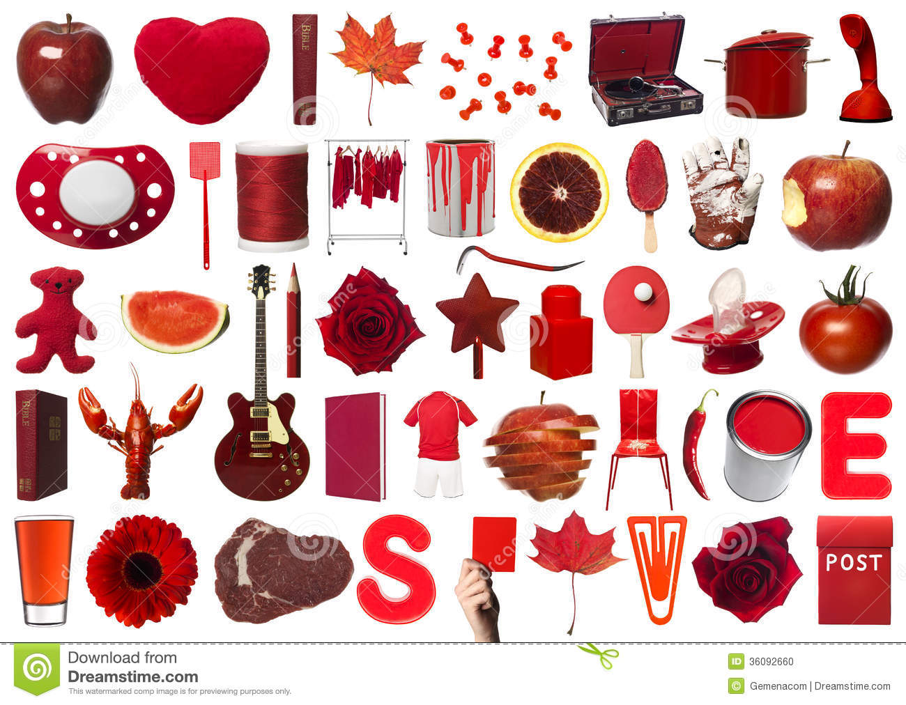 Red Objects Collage Stock Photo
