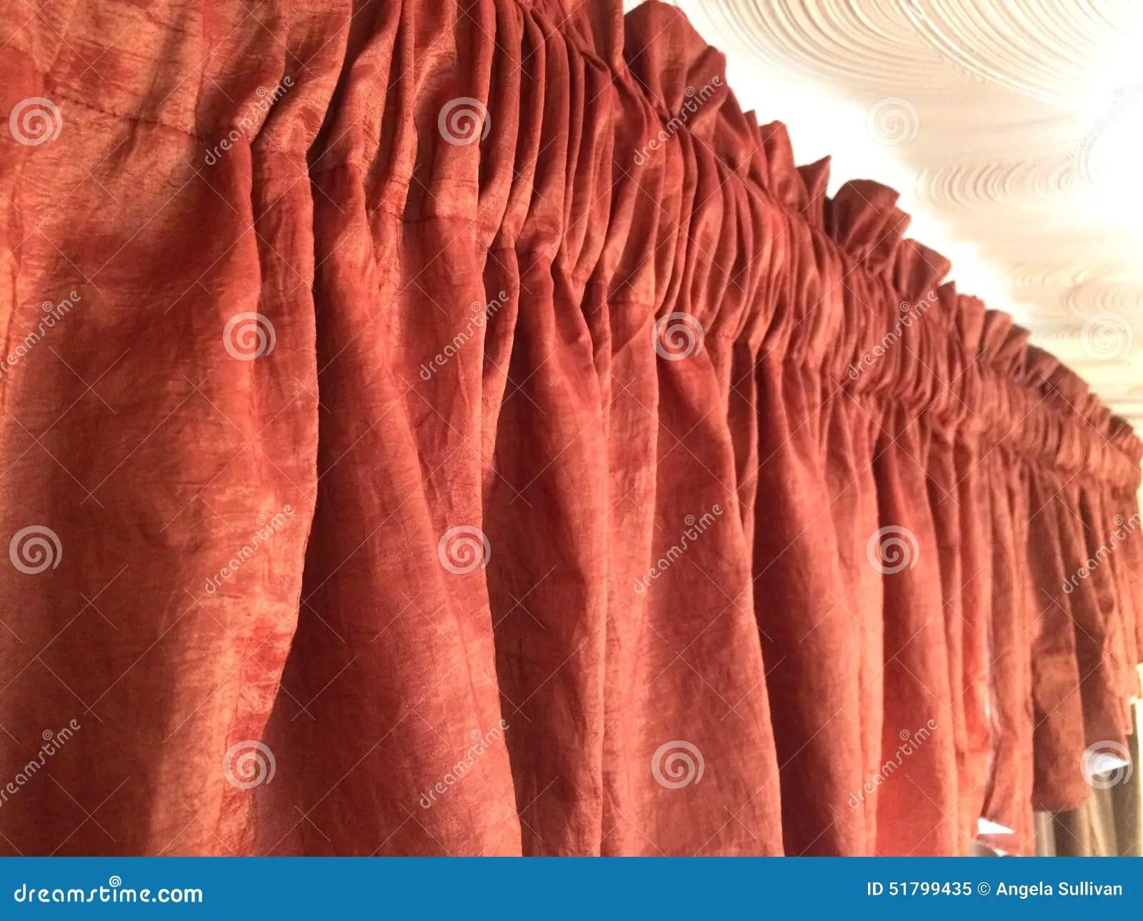 Red Orange Valance Window Treatment Stock Photo