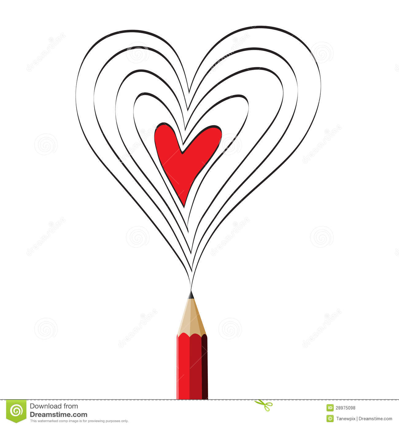 Red Pencil Drawing Red Heart Illustration Stock Vector