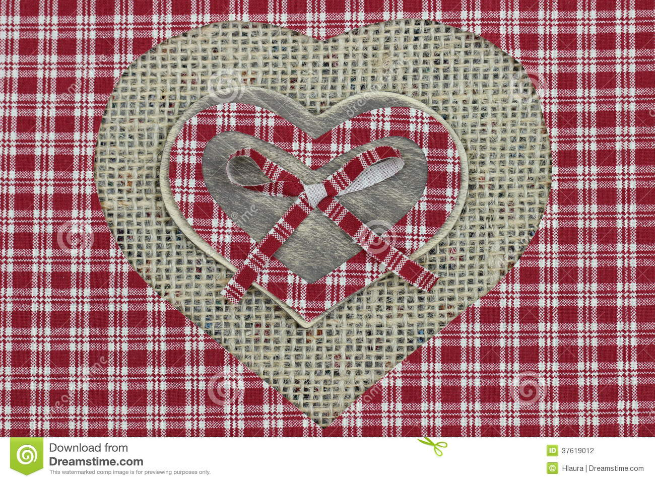 Red Plaid And Wood Country Hearts With Shabby Burlap