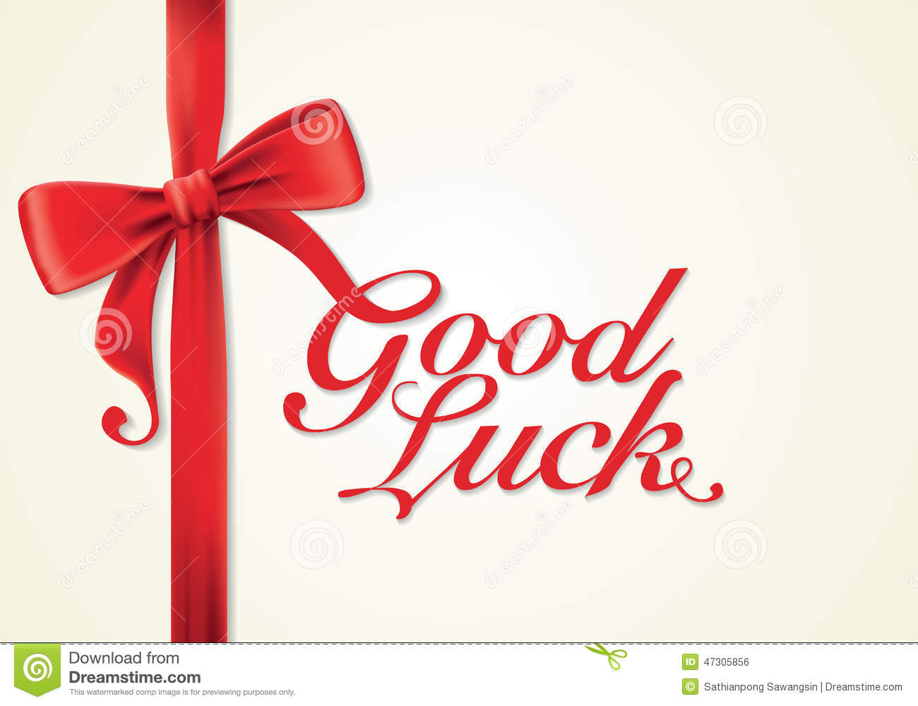 Red Ribbons And Greeting Card Bows Good Luck Stock