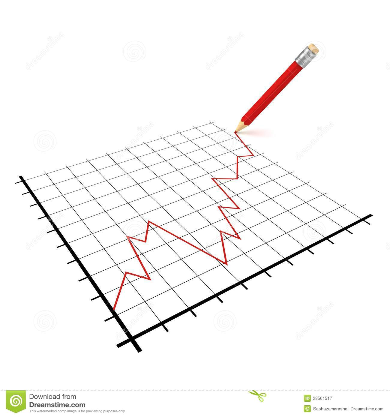 Red Success Business Financial Diagram With Pencil Royalty