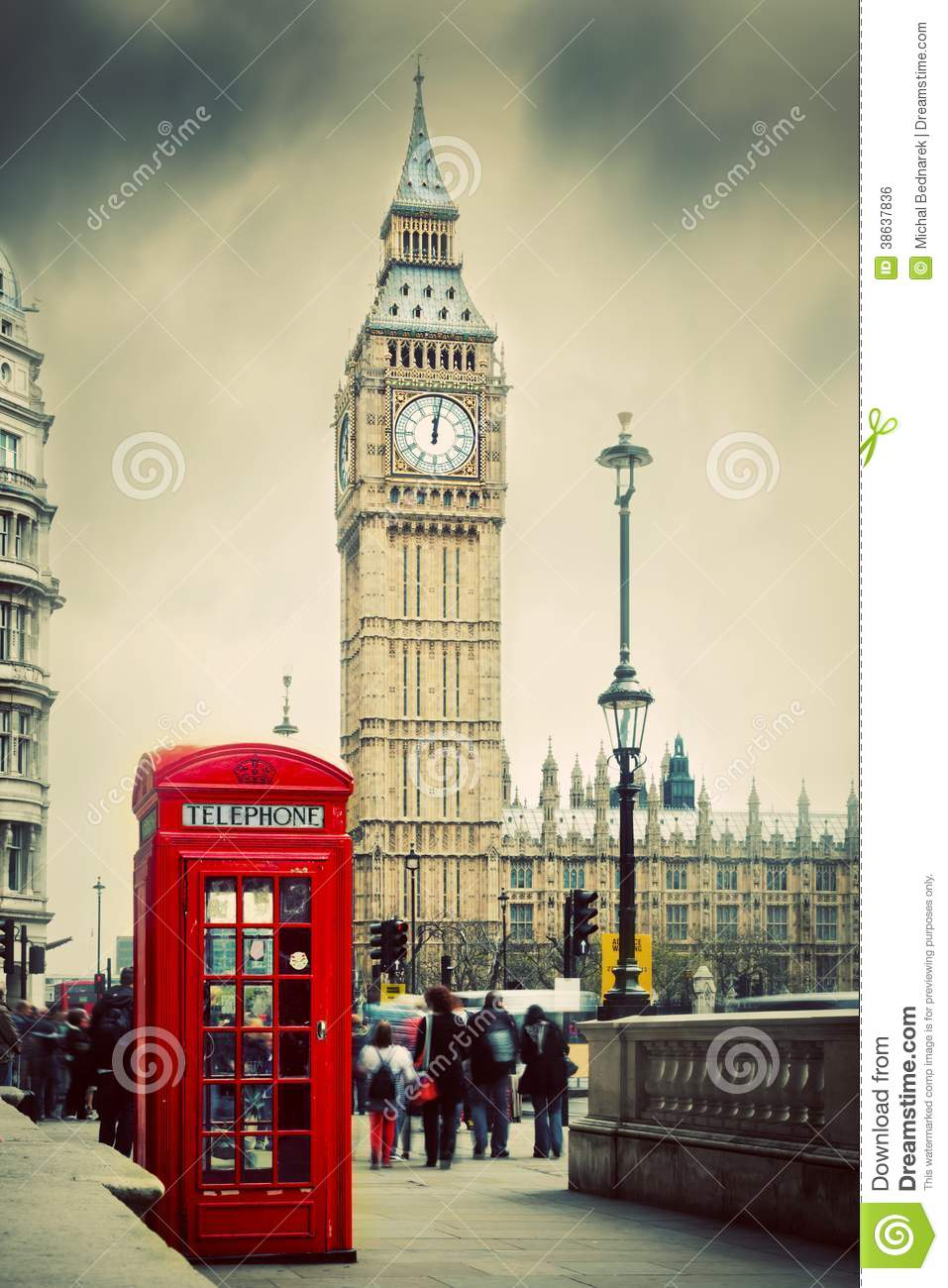 Red Telephone Booth And Big Ben In London Uk Royalty