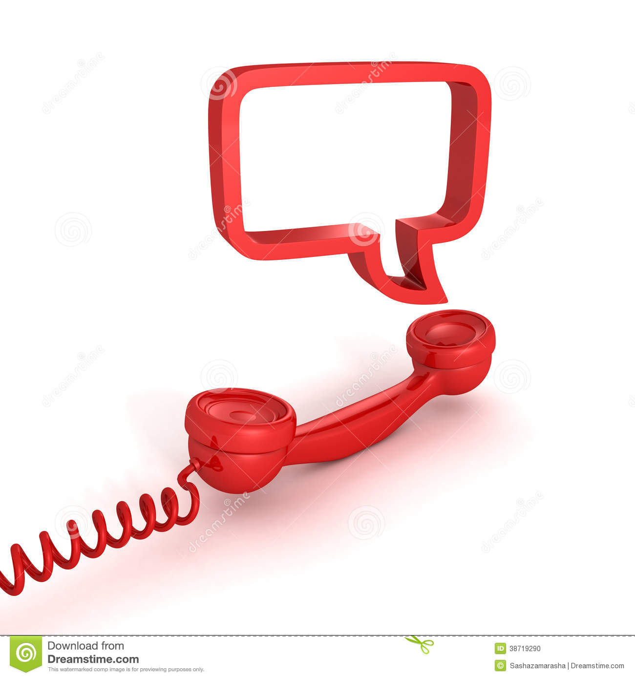 Red Telephone Receiver And Speech Bubble Stock