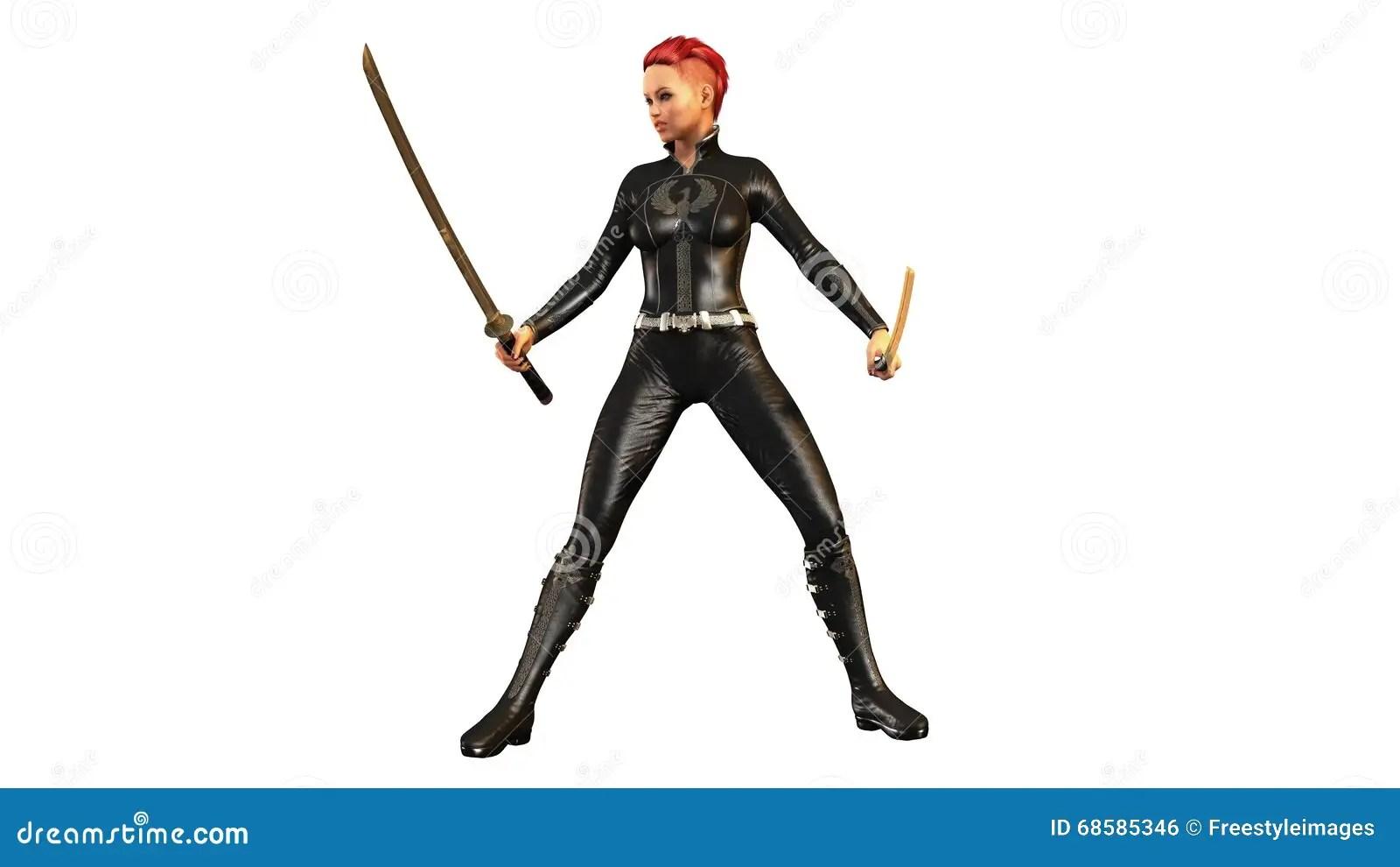 Redhead Girl With Two Samurai Swords Girl With Katanas
