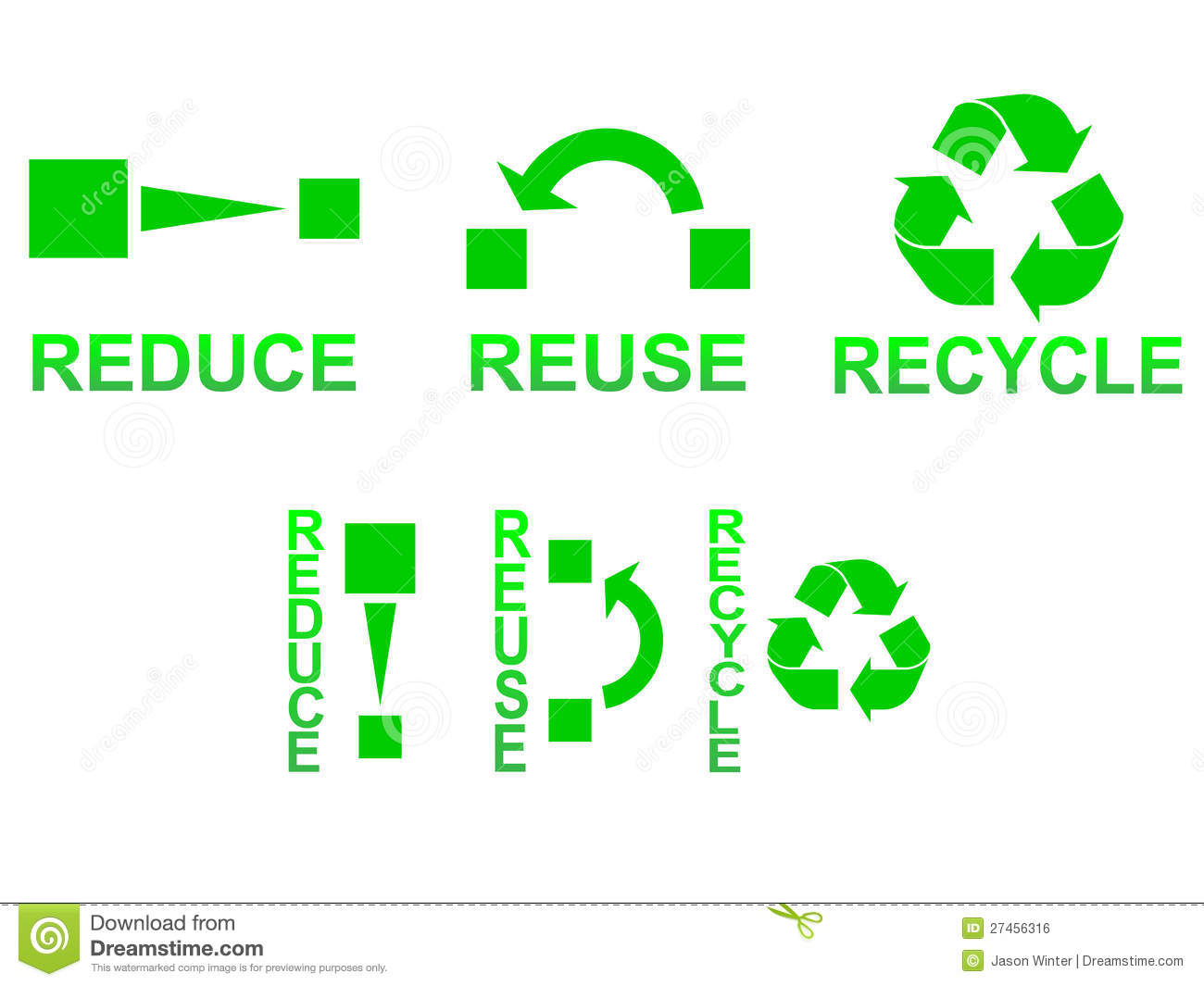 Reduce Reuse Recycle Stock Vector Illustration Of