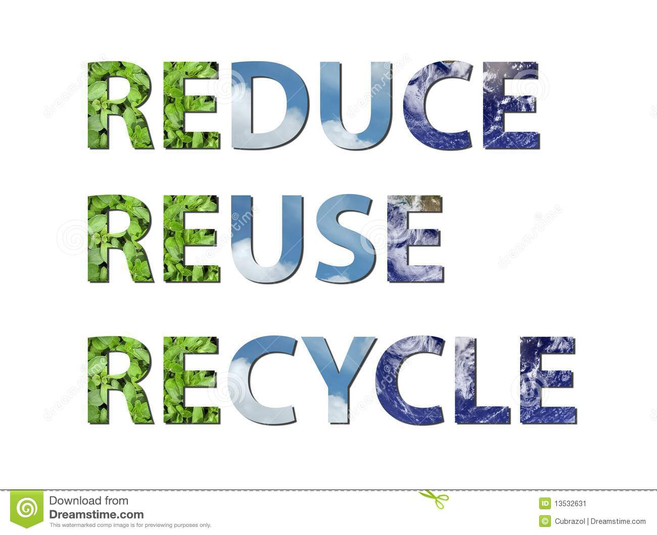 Reduce Reuse Recycle Earth Water Air Stock