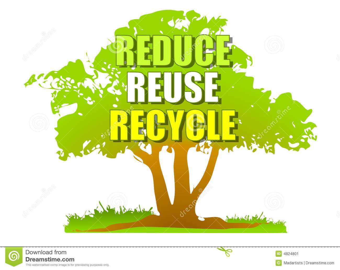 Reduce Reuse Recycle Green Tree Stock Illustration