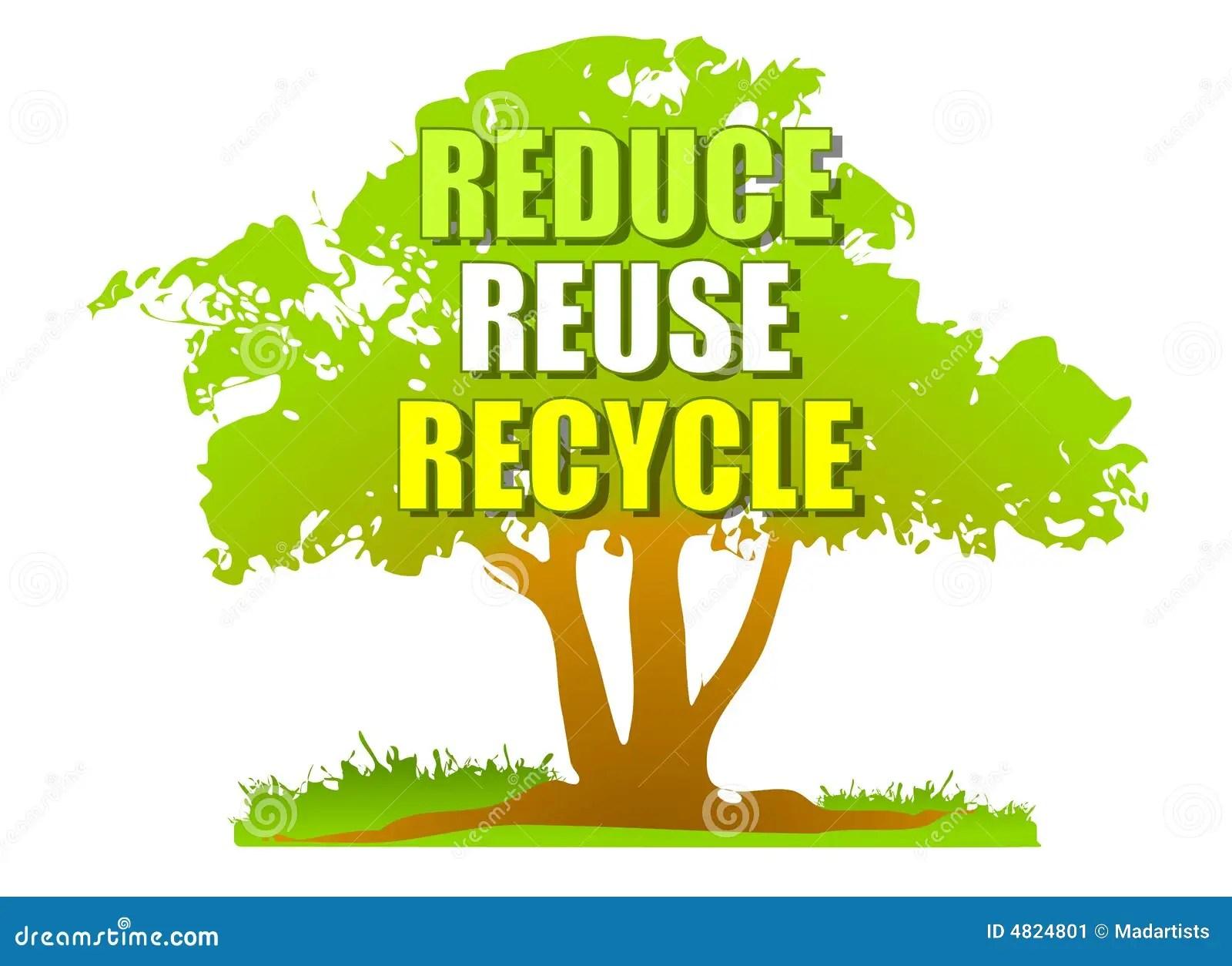 Reduzca La Reutilizacion Reciclan El Arbol Verde Stock De
