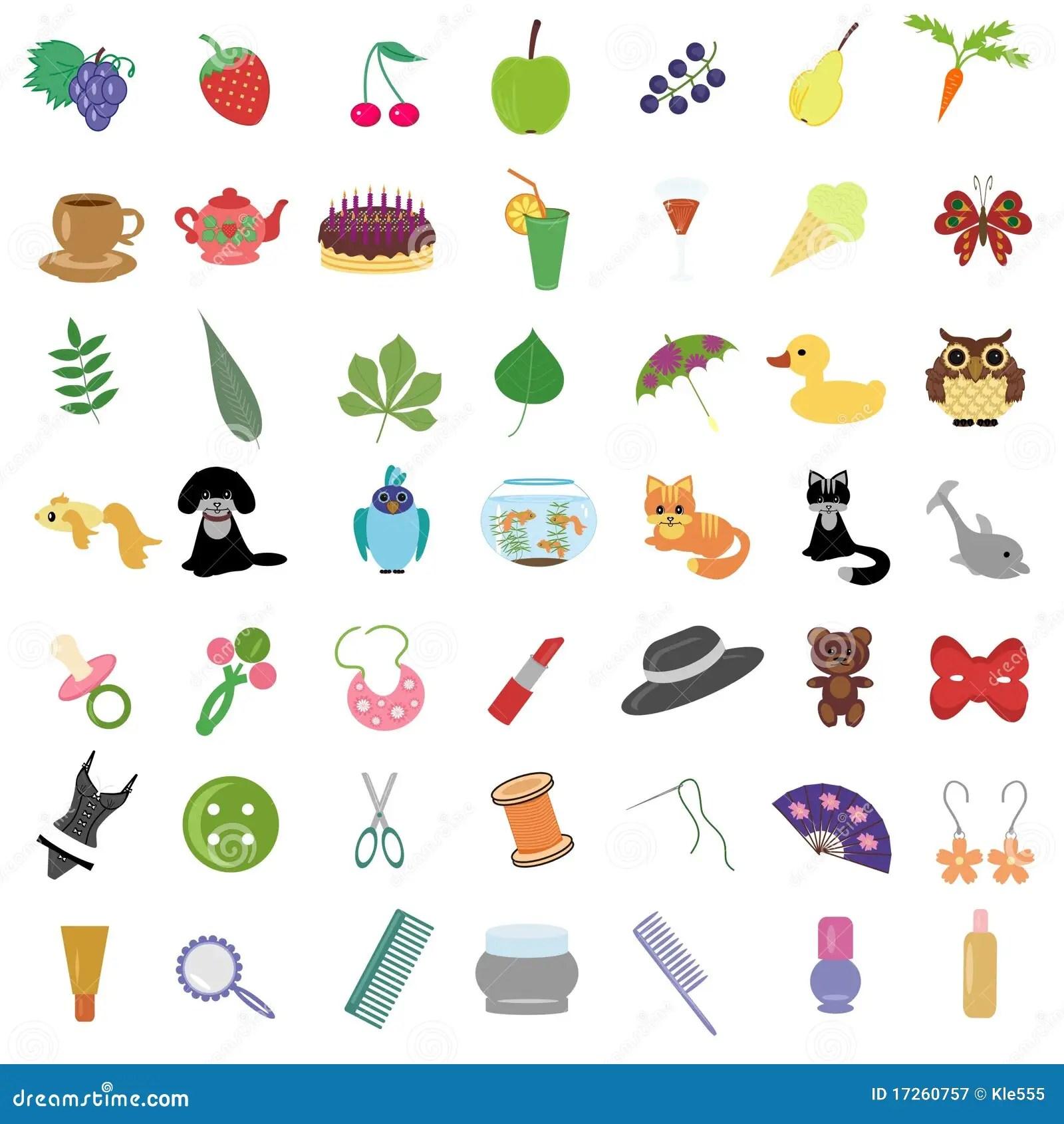 Reeks Met Vele Verschillende Voorwerpen Stock Illustratie