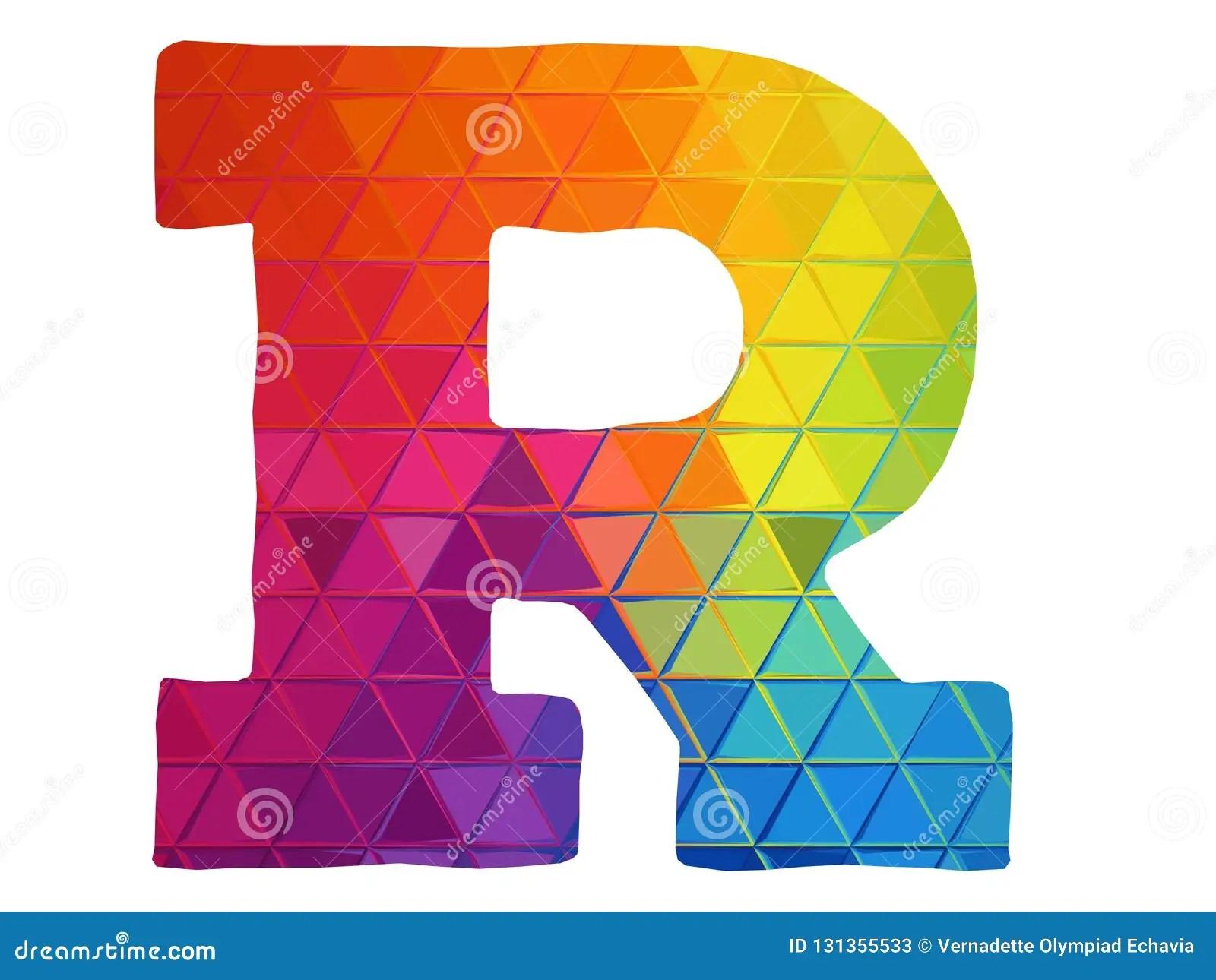 Regenbogen Farbige Logoikone Des Buchstaben R Stock