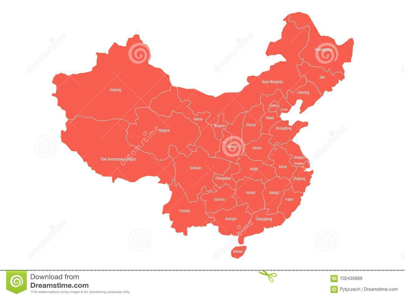 Regional Map Of Administrative Provinces Of China Red Map